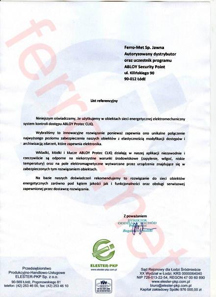 List referencyjny dla Ferro-Met